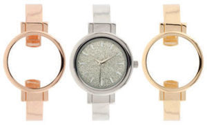 Interchangeable Band Womens Multicolor 3-pc. Watch Boxed Set