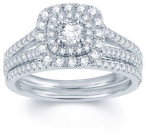 Modern Bride Signature 1 CT. T.W. Diamond 14K White Gold Bridal Ring Set
