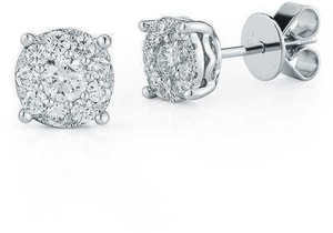 Round Brilliant 0.66 ctw VS2 Clarity, I Color Diamond 18kt White Gold Earrings