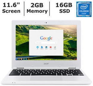 Acer Chromebook, Intel Celeron N2840 Processor, 2GB Memory, 16GB Solid State Drive