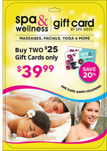 2 $25 Spa and Wellness Gift Cards