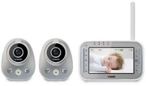 VTech Digital Video Baby Monitor with Two Cameras, Night Vision, Wide-Angle and Standard Lens - VM342