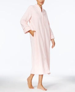 Charter Club Long Dimple-Textured Zip-Front Robe