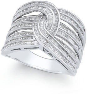 Diamond Baguette Interwoven Statement Ring 1 ct. t.w. in Sterling Silver