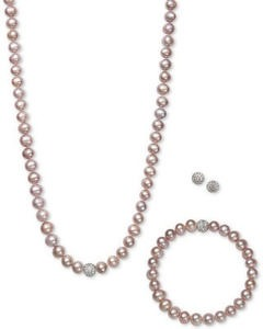 Cultured Freshwater Pearl (7mm) & Crystal Collar Jewelry Set