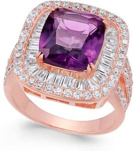 Macy's Synthetic Amethyst & Cubic Zirconia Ring