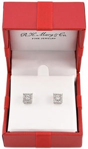 Diamond Cluster Stud Earrings (1/3 ct. t.w.) in 14k White Gold