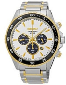 Seiko Men's Solar Chronograph Two-Tone Stainless Steel Bracelet Watch