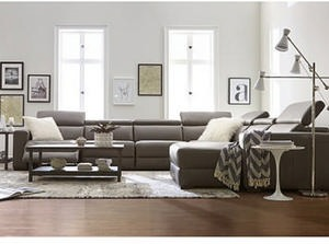 Nevio Leather & Fabric Power Reclining Sectional Sofa w/Articulating Headrests Collection