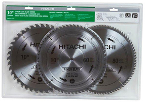 Hitachi 3-Pack 10-in Miter Saw Blade Set