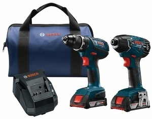 Bosch Compact Tough 2-Tool 18-Volt Lithium Ion (Li-ion) Cordless Combo Kit with Soft Case