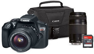 Canon EOS Rebel T6 DSLR Camera Lens Bundle with EF-S 18-55mm IS and EF75-300 III Lens