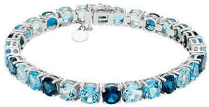 28 CT. T.W. Blue Topaz Bracelet in Sterling Silver