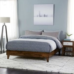 Wood Mid-century Platform Style Bed