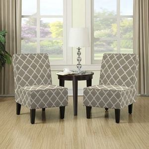 Handy Living Wylie Barley Tan Trellis Print Armless Chairs (Set of 2)