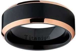 Oliveti Black Titanium and Rose Gold Men's Band